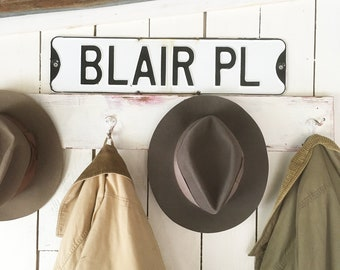 "Old Porcelain Enamel Metal ""Blair Pl"" Street Sign - Black & White with Slightly Distressed Patina - Blair Place"