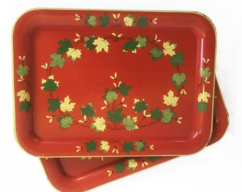 Set of 2 Mid Century Lap Trays, Serving Trays, TV Trays with Maple Leaf Graphics