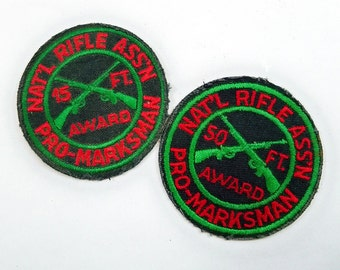 A Pair of Mid Century NRA Pro-Marksman Rifle Award Patches