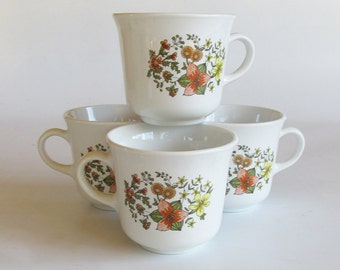 """Corning Corelle """"Indian Summer"""" Coffee Cups - Mugs - Set of 4"""