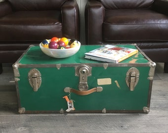 Mid Century Green Metal-Sided Travel Trunk, Footlocker, Coffee Table Trunk, Dorm Storage
