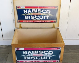 1992 Nabisco Biscuit 200th Anniversary Wooden Cracker Crate - Wood Box