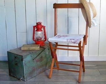 "Mid Century Wood & Canvas Folding Camp Stool ""Beautiful Rustic Patina"""