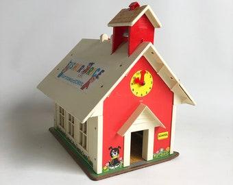 1971 Fisher Price Schoolhouse, Play Family School, Vintage Toy School