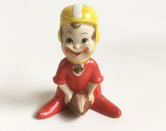 1950s Ceramic Pixie Football Player Figurine - Kitschy Mid Century Elf Sports Figurine - FREE USA SHIPPING