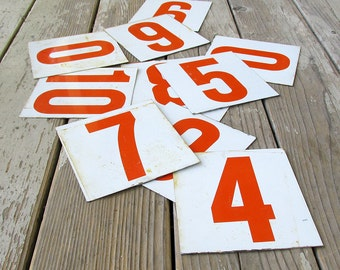 "Industrial Metal Number - Red on White Metal, Address Numbers, Birthday, Anniversary, Wedding Numbers ""Industrial Chic"""