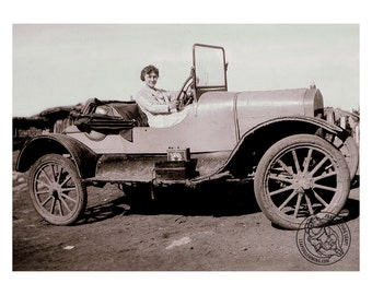 Antique Car Photo Print - 1920s Woman Driving Old Roadster - FREE USA Shipping
