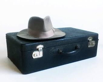 1920s Black Leather Suitcase - Overnight Case - Hard-sided Suitcase