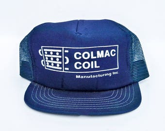 1980s Mesh Back Truckers Hat with Colmac Coil Manufacturing Logo, Workman's Hat