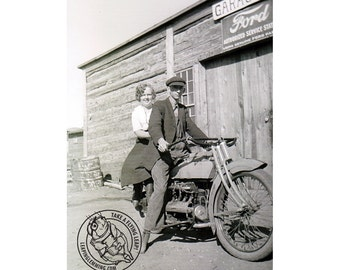 Antique Motorcycle Photo Print of Man & Woman on Old Motorcycle - 1917 Henderson - FREE USA Shipping