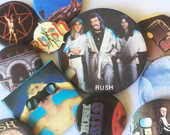"Rush Band 1980s Pin-Back Button Bundle - 3 Buttons - Rock & Roll Memorabilia, Prog Rock, Heavy Metal, Concert Button ""FREE USA SHIPPING"""