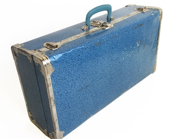 Cute Mid Century Blue Metal Sided Suitcase, Great for a Vintage Wedding Gift Cards, Retail Display