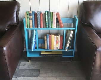 Mid Century Modern Bookshelf - MCM Bookcase in Vintage Teal Blue - Free USA Shipping