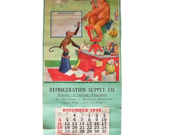 """1949 Monkey Cartoon Wall Calendar by Lawson Wood  """"No Ceiling"""""""
