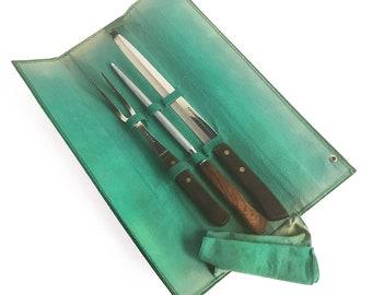 Mid Century Vanadium Flint Stainless Steel Carving Knife, Fork, Sharpener with Original Case - Carving Set