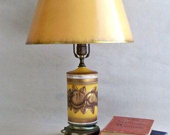 Hollywood Regency Painted Glass Table Lamp - Golden Brown