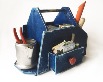 Vintage Home-made Tool Tote, Crafting Box, Gardening Tote, Artist's Box, Kid's Art Box, Potting Shed Organizer