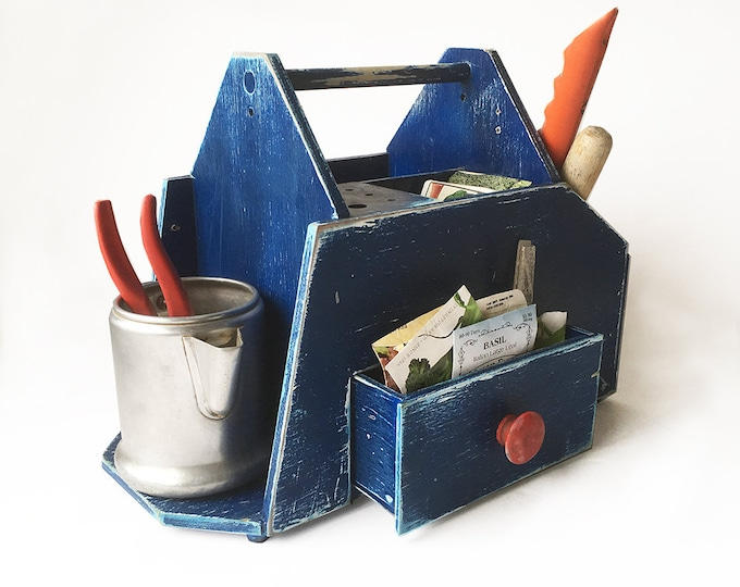 Featured listing image: Vintage Home-made Tool Tote, Crafting Box, Gardening Tote, Artist's Box, Kid's Art Box, Potting Shed Organizer
