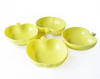 """Set of Four 1950s Hazel Atlas Milk Glass Apple Shaped Serving Bowl- Salad Bowls, Fruit Bowls, Cereal Bowls """"Granny Smith Green"""""""