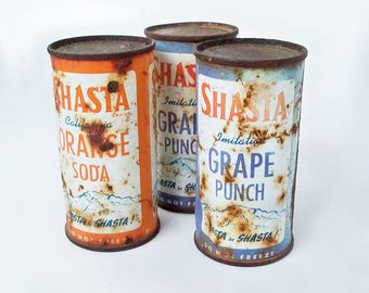 Bundle of Three Old Shasta Soda Cans - Orange Soda & Grape Punch