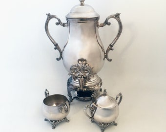 Elegant Mid Century F.B. Rogers Silver-plate Coffee Service, Samovar, Coffee Urn with Cream & Sugar and Warmer