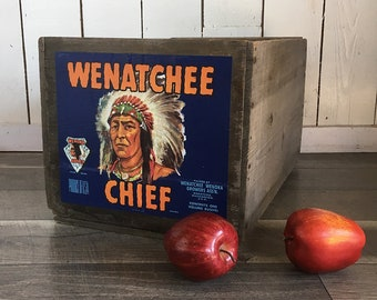 Old Apple Crate, Fruit Crate, Wooden Box - Indian Chief Graphics from Wenatchee, Washington