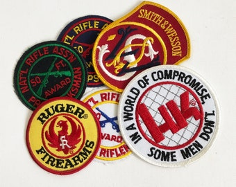 Vintage Gun Embroidered Patch - Gun Maker, NRA Award Patch, Ruger, Smithe & Wesson, Heckler and Koch
