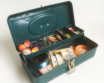 Mid Century Teal Blue Steel Tackle Box full of Vintage Tackle - Lures, Flies, Hooks, Weights & More
