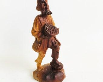 "Vintage Hand-carved Wooden Figurine, Walking Pilgrim, Traveler, Peasant, European-Mediteranian Folk Art ""FREE USA SHIPPING"""