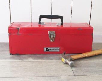 Vintage Red Lumifor Metal Toolbox