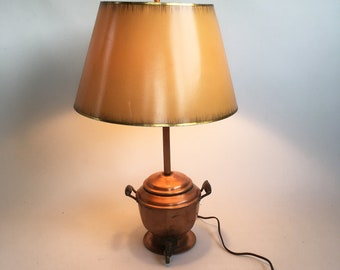"""Antique Copper Tea Kettle Lamp - Up-cycled Table Lamp """"Eclectic Lighting"""""""
