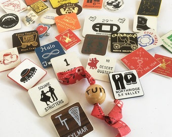 A Lot of 34 Different 1970s Square Dance Pins, Mid Century Kitschy Fun