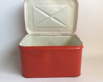 1950s Red Metal Breadbox