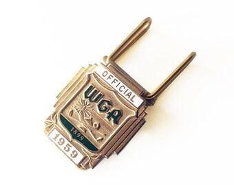 Western Golf Association 1959 Official Money Clip, WGA Tournament Official's Money Clip, Golf Memorabilia