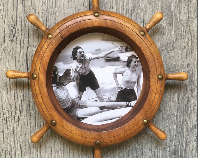 Featured listing image: Vintage Ships Wheel Picture Frame With Vintage Boating Photos - Ready for Your Nautical Decor