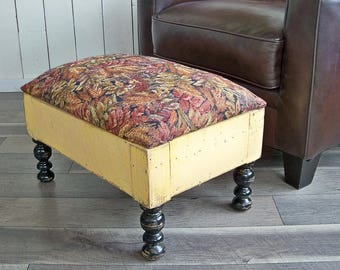 Shabby Boho Ottoman, Footrest, Hassock with Earthy Yellows, Reds, Greens and Black