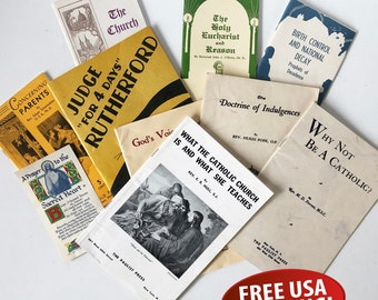 A Bundle of Early 20th Century Catholic Church Literature, Pamphlets, Tracks, Catholic Memorabilia, Ephemera, The Paulist Press