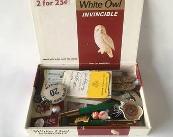 Vintage Cigar Box Full of 1960s Trinkets & Treasures - 1960s Memory Box, Baby Boomer, Generation X Memories