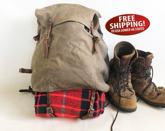 1940s WWII Era Swedish Army Canvas & Leather Backpack with Steel External Frame, Rucksack, Day Pack, Military Pack, Army Surplus