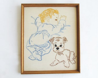 """Vintage Hand Embroidered Baby & Puppy """"Framed and Ready for Your Retro Themed Nursery"""""""