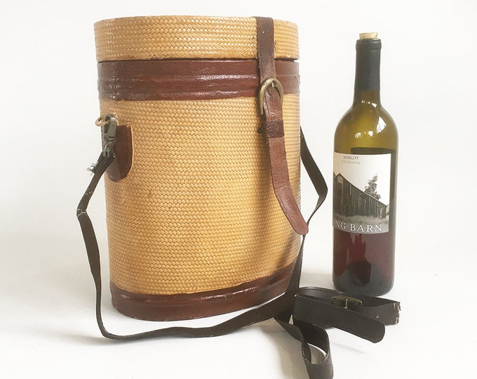 """Featured listing image: Vintage Wicker & Leather Wine Bottle Carrier, Case, Wine Tote, Picnic Basket  """"Holds Up to 5 Bottles"""""""