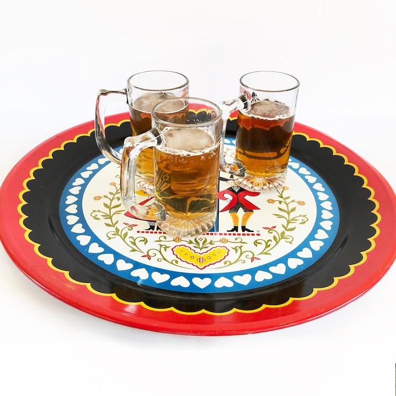 Bar Tray Scandinavian Metal Litho Serving Tray Scandinavian Home Swedish Folk Art