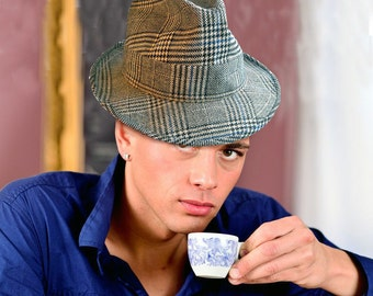 """Vintage Fedora in Black, White and Blue """"Sporty Yet Sophisticated"""""""