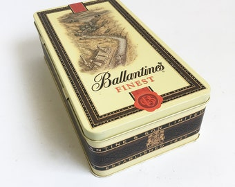 1990 Ballantine's Scotch Whisky Tin, Whiskey Tin, Bar Storage Box