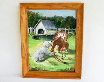 """Vintage Framed Signed Original Painting """"Playful Puppies - Dogs Playing Tug-of-War"""""""
