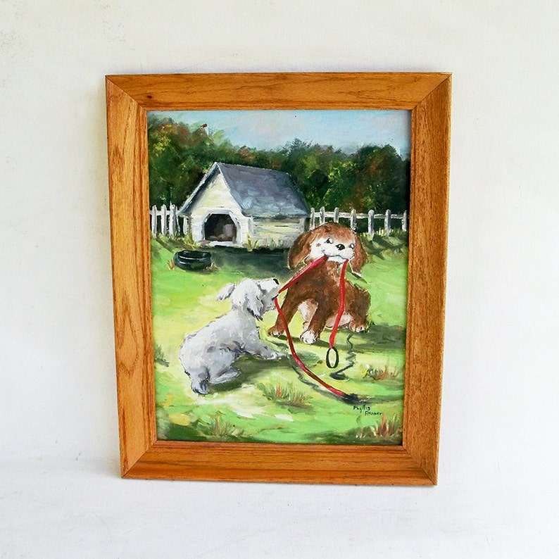 Vintage Framed Signed Original Painting Playful Puppies image 0