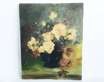 """Vintage Original Oil on Canvas Painting - Impressionistic Style Flowers in Vase Still Life -  Greens, Yellows, Blues & Reds, 16"""" X 20"""""""