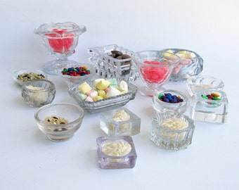 """A Lot of 15 Vintage & Antique Glass Salt Cellars - Small Glass Bowls """"An Instant Collection"""""""