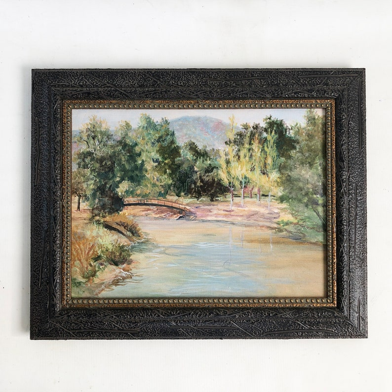 Vintage Original Oil Painting of Bridge Over a River Tranquil image 0