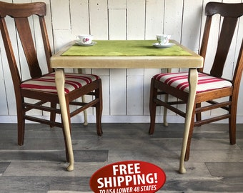 Mid Century English Made Folding Card Table with Velvet Top, Glamping Table, Card Table, Bridge Table, Shabby Wedding Gift Table